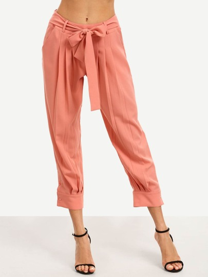 Pink Bow Tie Waist Pockets Pants