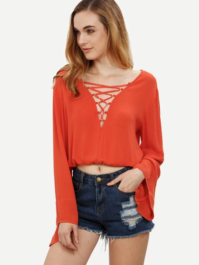 Red Crisscross Bell Sleeve Blouse
