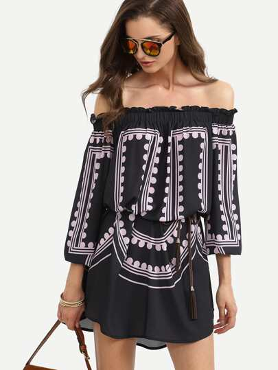 Purple Print in Black Off The Shoulder Dress