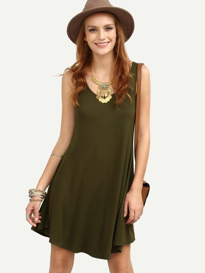 Army Green Sleeveless Shift Casual Dress