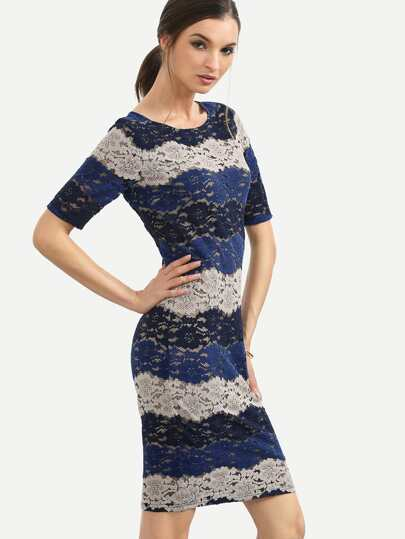Colorblock Lace Striped Short Sleeve Sheath Dress