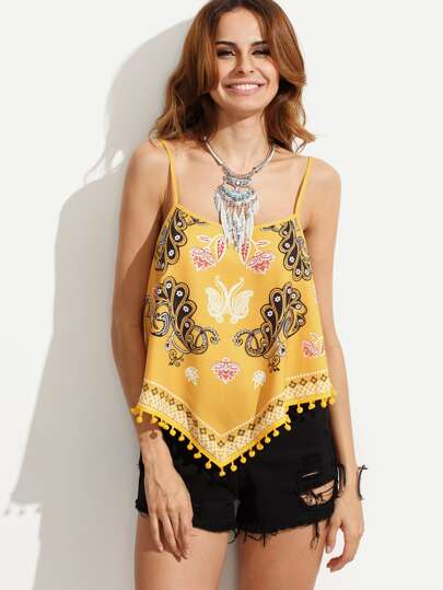 Multicolor Print Asymmetrical Pom-pom Hem Cami Top