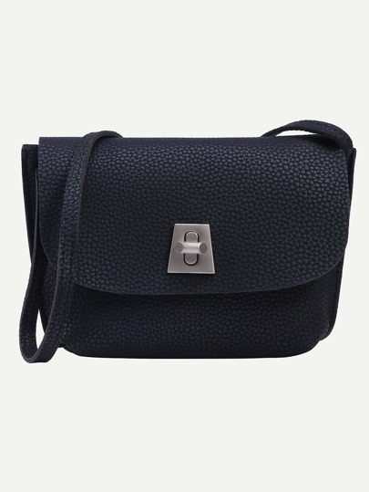 Black Pebbled Faux Leather Turnlock Flap Bag