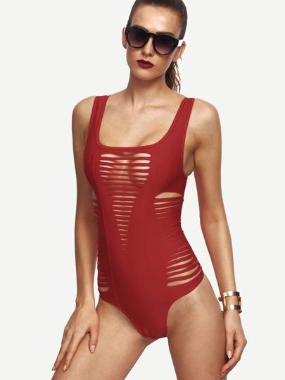Red Cutout Strappy One Piece Swimwear