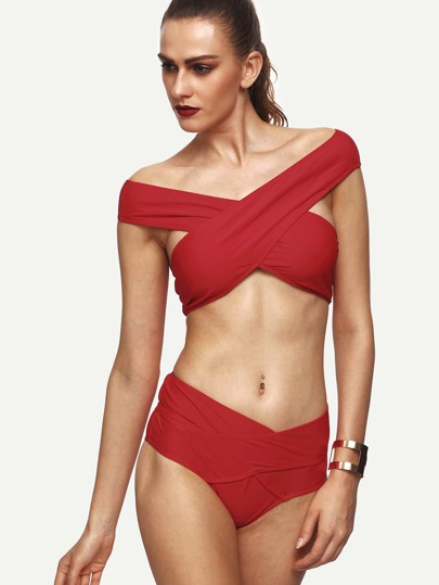 Red Off The Shoulder Cross Wrap Bikini Set