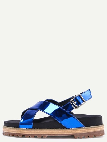 Sandalias cruzada plataforma plana -azul
