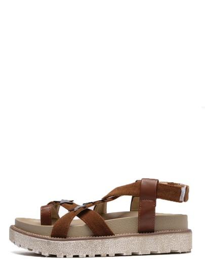 Sandales à plate-forme motif étoiles avec velcro - marron