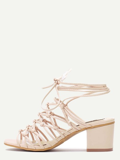 Beige Square Peep Toe Knotted Lace-up Chunky Sandals