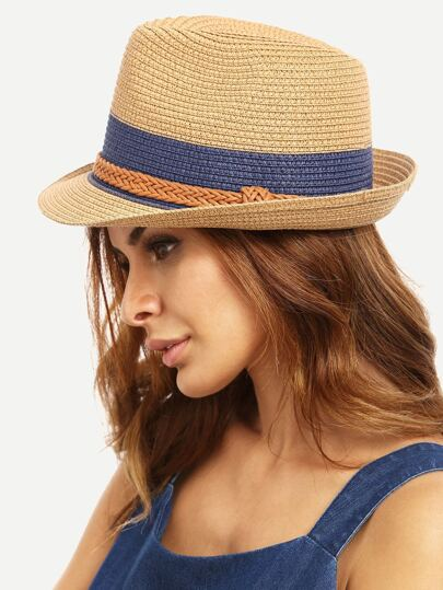Braided Trim Straw Bowler Hat