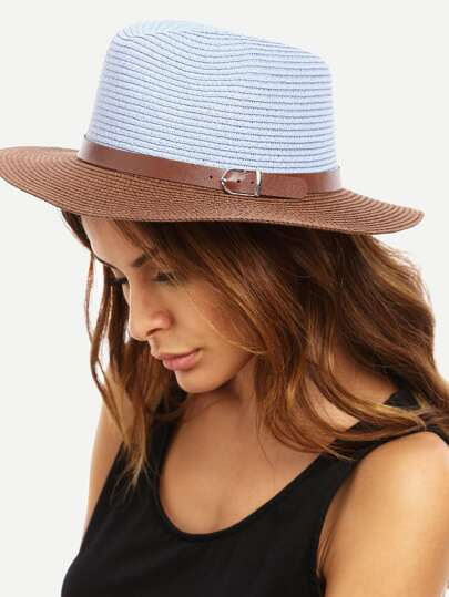 Colorblock Beach Wide Brim Straw Hat