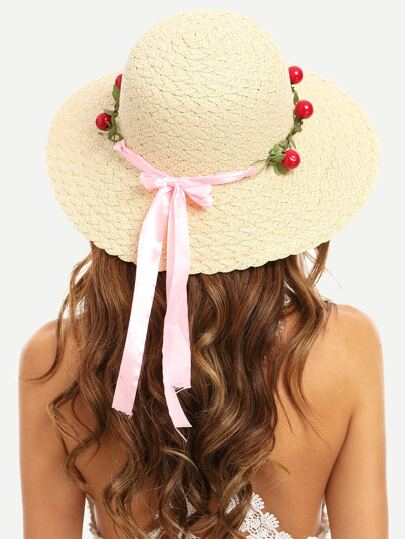 Beige Vacation Cherry Bow Trim Collapsible Straw Hat