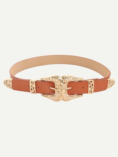 Camel Vintage Inspired Two-buckle Belt