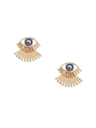 Boucles d'oreilles puces en forme de yeux - doré