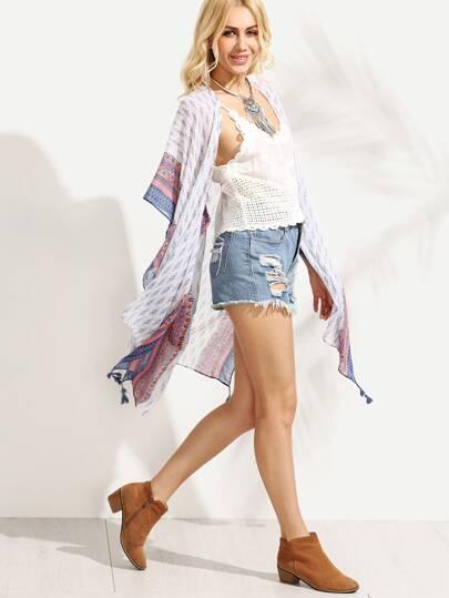 White Tribal Print Tassel Trim Kimono