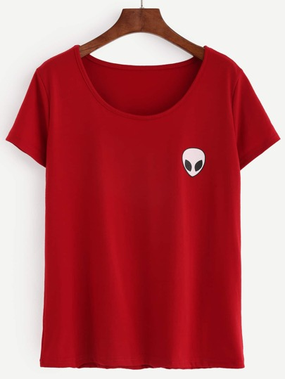 Red Alien Print T-shirt