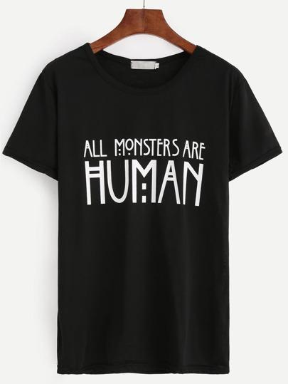 Camiseta estampado letras - negro