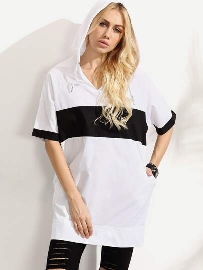 Contrast Hooded Oversized Short Sleeve Sweatshirt