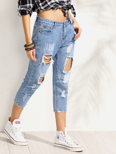 Blue Distressed 3/4 Length Jeans