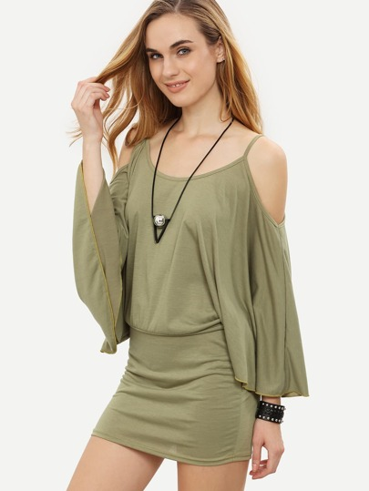 Olive Green Cold Shoulder Kimono Sleeve Blouson Dress
