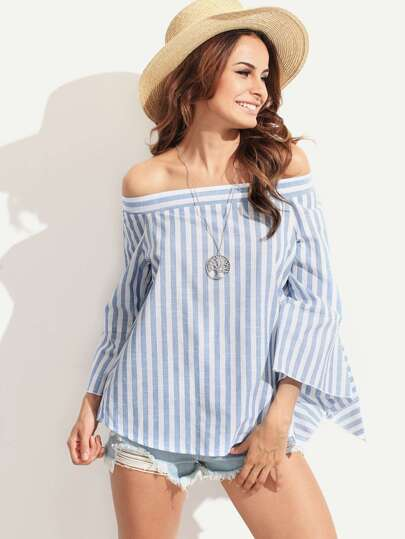 Blue Striped Off The Shoulder Split Sleeve Blouse
