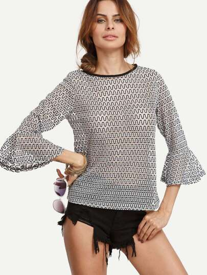 Black and White Wave Form Bell Sleeve Blouse
