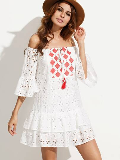 White Embroidered Tassel Tie Off The Shoulder Dress