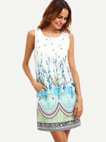 Multicolor Print Pocket Sleeveless Shift Dress