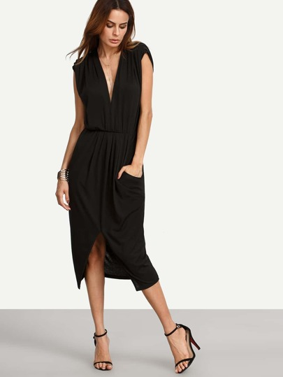 Black Pocket V Neck Cap Sleeve Split Dress