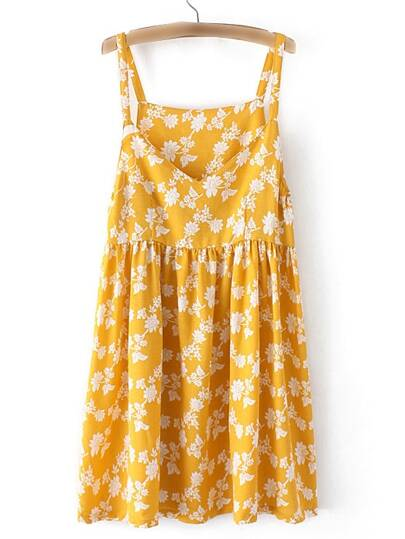 Ginger V Neck Floral Printed Pleated Dress
