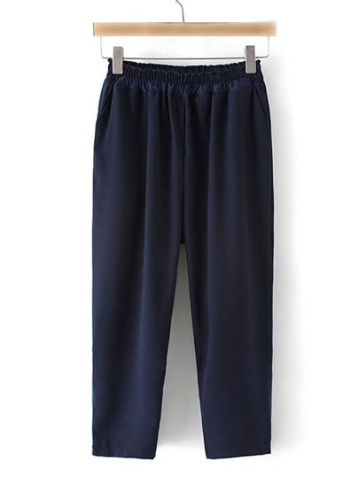 Navy Elastic Waist Pockets Cropped Pants