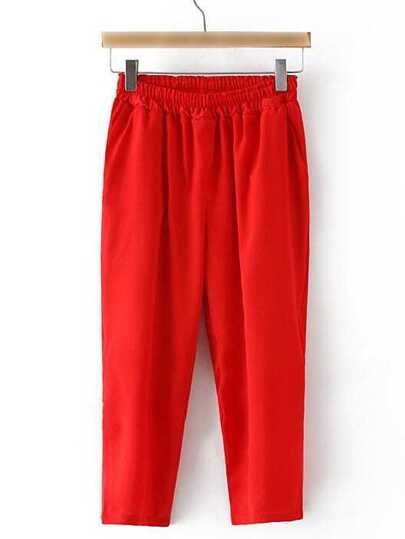 Red Elastic Waist Pockets Cropped Pants