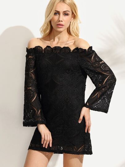 Crochet Lace Off The Shoulder Black Ruffle Dress