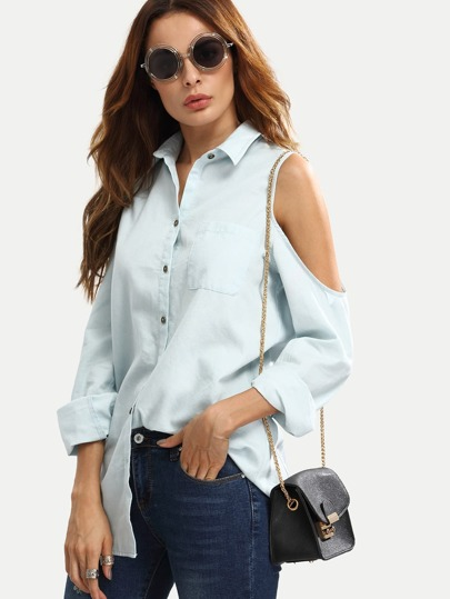 Light Blue Button Down Cold Shoulder Blouse