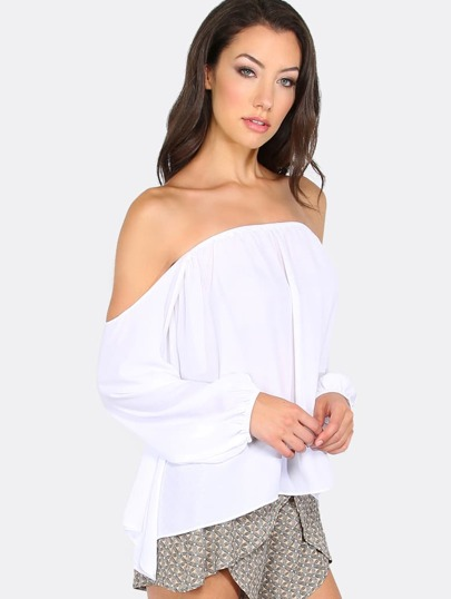 White Off The Shoulder Long Sleeve Blouse