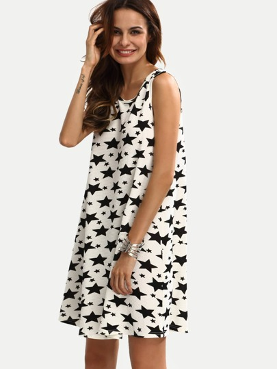 Black and White Five-pointed Star Sleeveless Dress