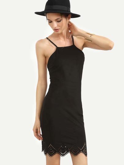 Black Tie Crisscross Back Sleeveless Scallop Hem Dress