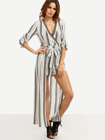 Black and White Striped Tie Waist V Neck Jumpsuit