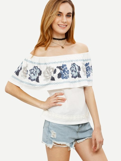 White Print Split Off The Shoulder T-shirt