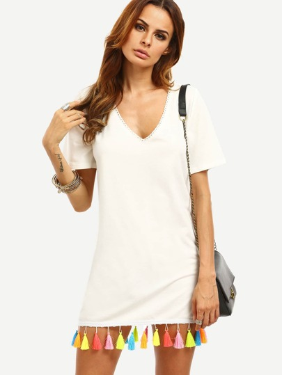White V Neck Tassel Hem Short Sleeve T-shirt