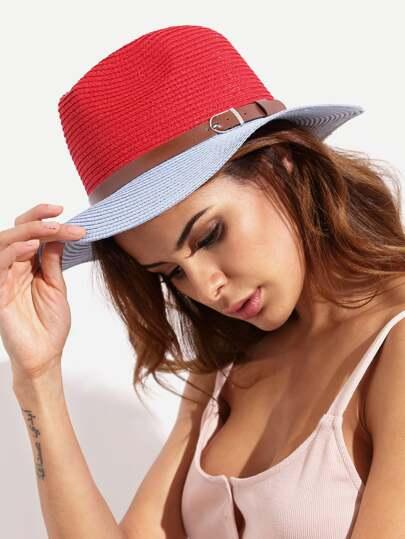 Chapeau de paille bicolore avec boucle