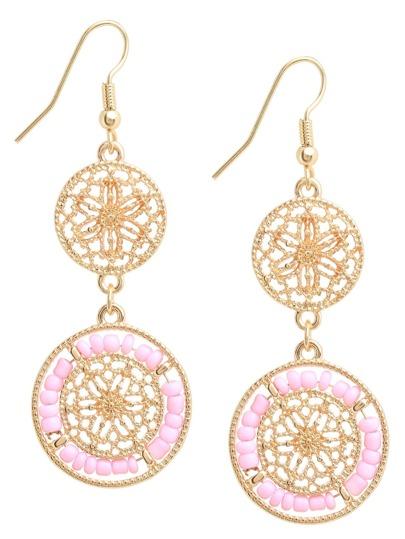 Pink Beads Hollow Drop Earrings