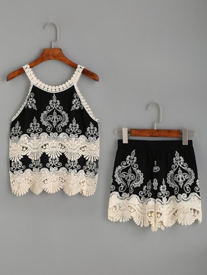 Black Embroidered Crochet Trimmed Top With Shorts