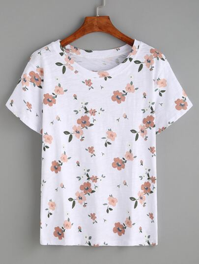 White Flower Print T-shirt