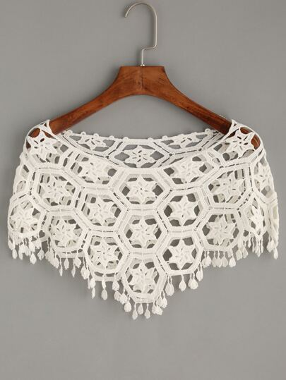 White Hollow Out Crop Crochet Poncho