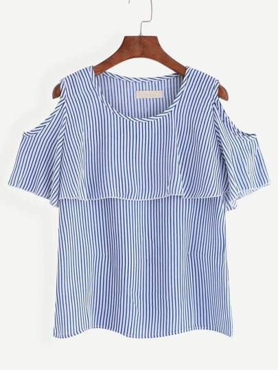 Open Shoulder Vertical Striped Blouse
