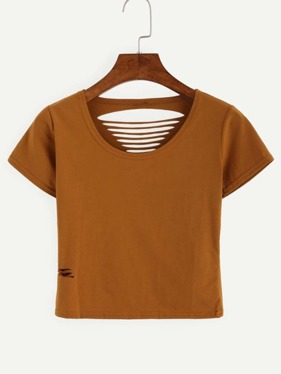 Brown Ripped Crop T-shirt