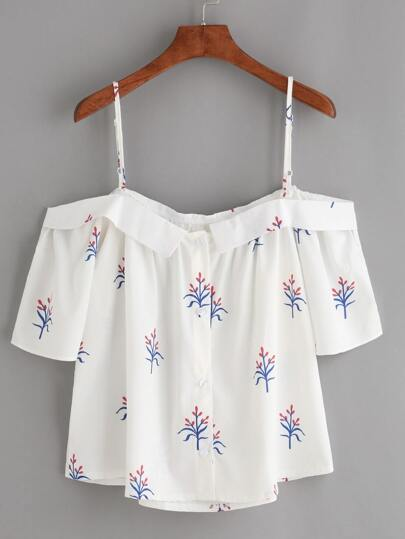 White Fold Over Cold Shoulder Flower Print Top