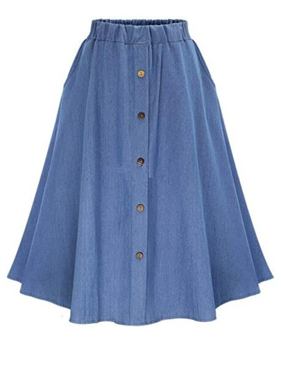 Elastic Waist Denim Tea Skirt With Buttons