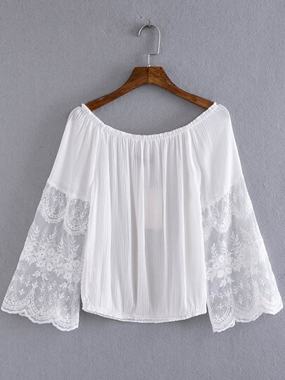 White Bell Sleeve Off The Shoulder Smock Blouse