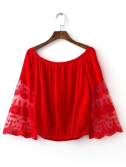 Red Bell Sleeve Off The Shoulder Smock Blouse